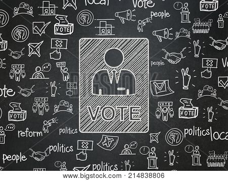 Political concept: Chalk White Ballot icon on School board background with  Hand Drawn Politics Icons, School Board