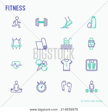 Fitness thin line icons set of running, dumbbell, waist, healthy food, swimming pool, pulse, wireless earphones, sportswear, yoga. Modern vector illustration.