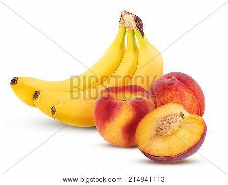 Bunch Of Bananas And Sweet Peach One Cut In Half