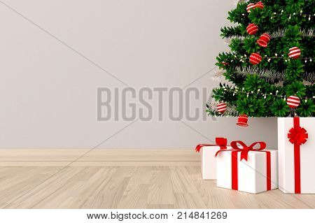 Minimal. White living room interior with Christmas tree and gift box on empty white wall background.3d rendering.