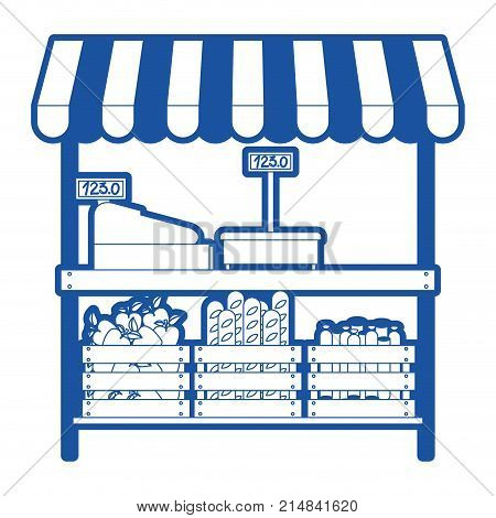 supermarket shelf with weighing machine and cash register and sunshade with foods in blue silhouette vector illustration