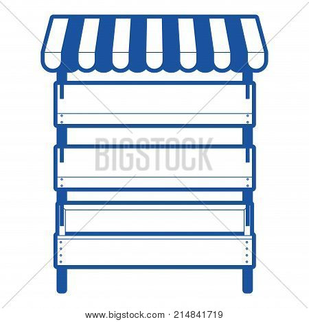 supermarket shelves empty with three levels and sunshade in blue silhouette vector illustration