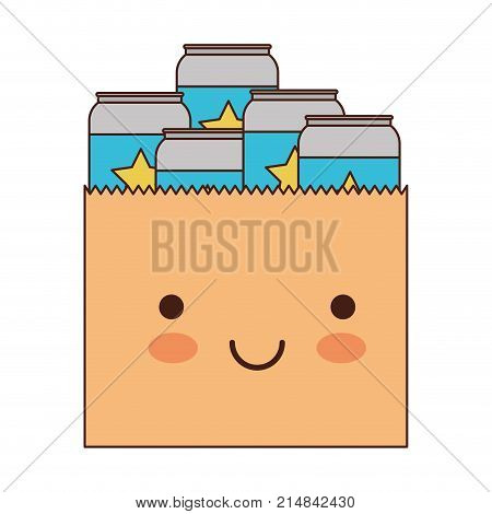 kawaii paper bag with canned beers in colorful silhouette vector illustration