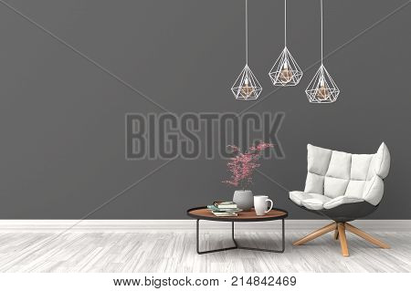 Minimal. Black or Gray living room interior with white fabric armchair, cabinet, coffee cup and plants on empty black or gray wall background.3d rendering.