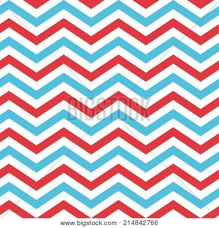 Seamless Chevron Pattern in Blue, Red, and White color. Nice background for Scrapbook or Photo Collage. Modern Christmas Backgrounds.