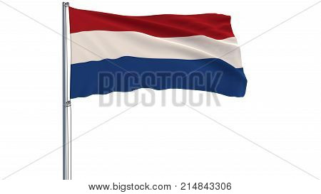 Isolate flag of Netherlands on a flagpole fluttering in the wind on a white background 3d rendering