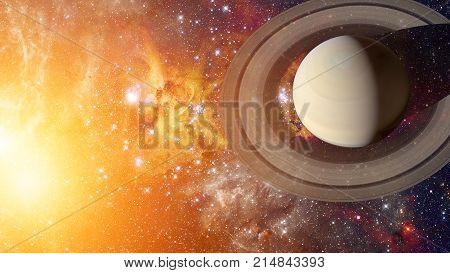 Saturn And His Ring System. Elements Of This Image Furnished By Nasa.