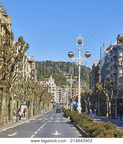 San Sebastian (Donostia) Spain - March 16, 2017. Avenida de la Libertad Avenue of San Sebastian. Basque Country Guipuzcoa. Spain.
