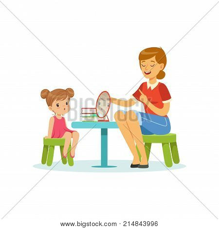 Speech and language specialist teaching little girl correct pronunciation of letters. Child speech sound development. Cartoon people characters. Flat style vector illustration isolated on white.