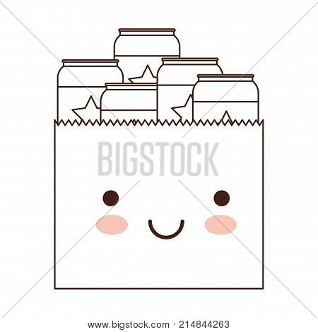 kawaii paper bag with canned beers in brown silhouette vector illustration