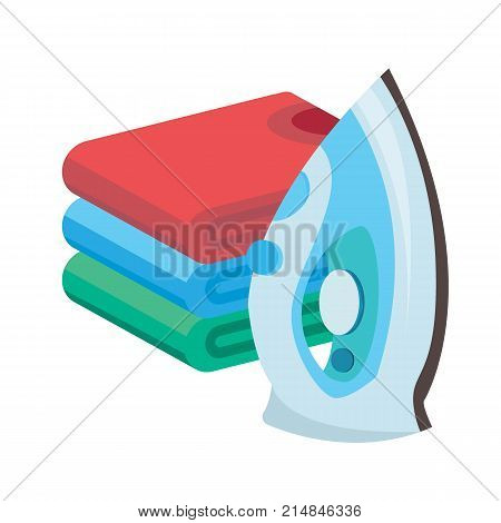 iron and linen vector. Ironing linen with steam generator. A stack of ironed tshirts lying next to the iron..
