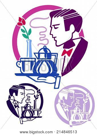Logo style icon of a handsome man in a tux bearing a tray with coffee and a rose in a vase