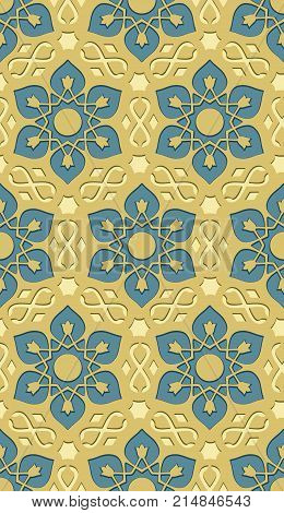 Islamic style abstract seamless pattern with kaleidoscopic elements