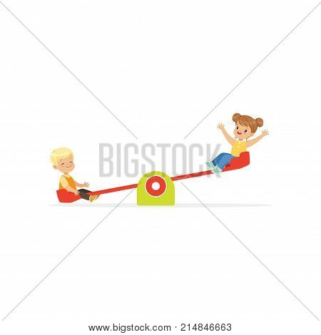 Toddler boy and girl having fun on rocking seesaw. Brother and sister playing outdoor game together on kindergarten playground. Cartoon children characters. Flat vector illustration isolated on white.