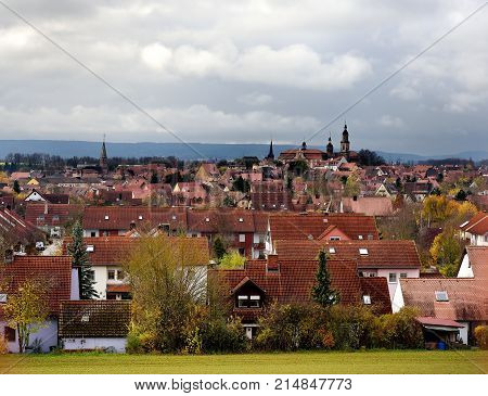 Scenic View Of Bad Windsheim Town In Bavaria, Germany