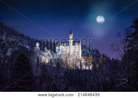 Splendid Night Scene Of Royal Castle Neuschwanstein And Surrounding Area In Bavaria, Germany (deutsc
