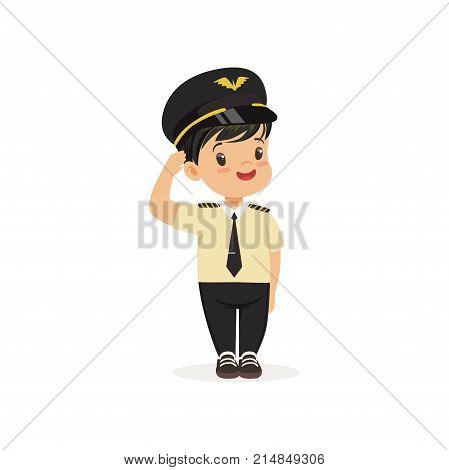 Smiling boy pilot standing isolated on white background. Career day, role play in kindergarten. Dream profession concept. Cartoon child character in captain uniform. Flat design vector illustration.