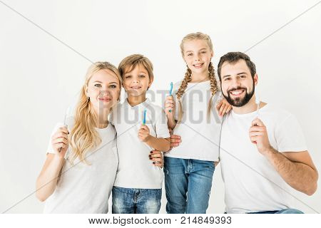 Family With Toothbrushes