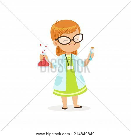 Red-haired child in white coat holding test tubes in hands. Little girl want to become scientist in future. Flat kid character. Costume for career day in kindergarten. Isolated vector illustration.