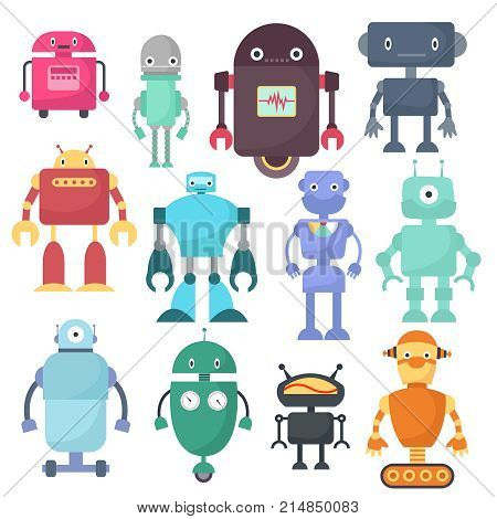 Cute robots, cyborg machine vector science characters. Cyborg and robot character friendly, robotic mascot illustration