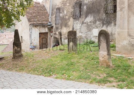 Sighisoara Romania October 08 2017 : Tombstones of the Dracula family in the courtyard of the castle in Sighisoara city in Romania