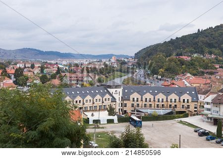 Sighisoara Romania October 08 2017 : View of the old city from the fortress walls castle in Sighisoara city in Romania