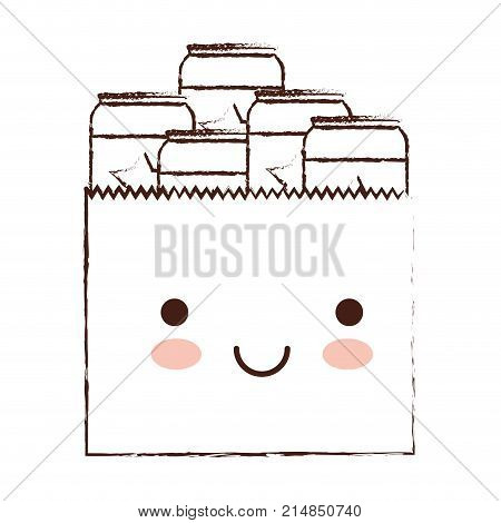 kawaii paper bag with canned beers in brown blurred silhouette vector illustration