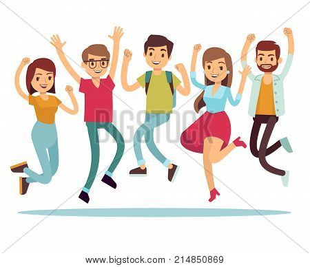 Jumping young happy people in casual clothes. Flat vector characters set. People jump, boy and girl person illustration
