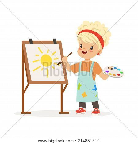 Vector illustration of little girl painting on canvas. Kid interested in becoming painter. Dream profession concept. Cartoon child in work wear. Isolated flat design character for school promo poster.