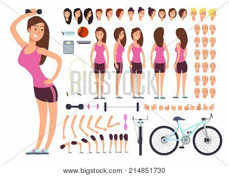 Young fitness female, sportswoman. Vector creation constuctor with big set of woman body parts and sport equipment. Woman character body and sport constructor illustration