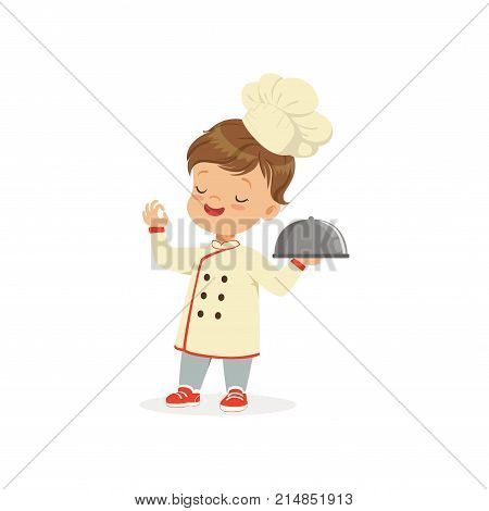 Cartoon character of boy in chef uniform and hat isolated on white. Kid dream of becoming chef cooker and open own restaurant. Child playing adult. Flat vector illustration for school promo poster.