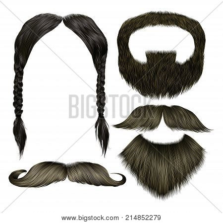 set vector mustache with beard different colors.fashion  beauty style .