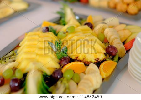 Festive banquet table with celebrate delicios food in restaurant