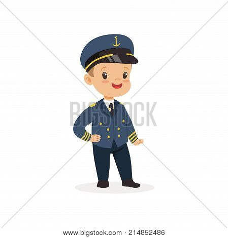 Cartoon little boy dreaming to become ship s captain in future. Flat cute child character. Kid dressed up for career day in kindergarten blue uniform with cap. Vector isolated on white background