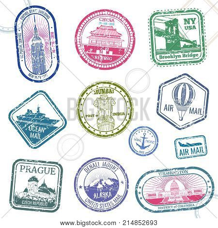 Vintage passport travel vector stamps with international symbols and famous trademark. Travel arrival stamp for passport, international national border illustration