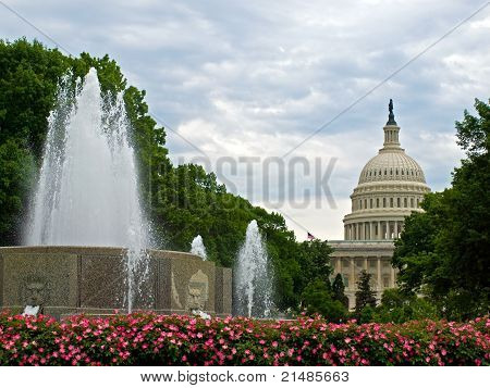 United States Capitol Building And Fountain In Washington Dc