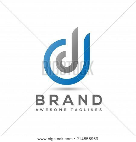 abstract Letter D logo design template elements. abstract letter DD.Business corporate letter DD logo design vector. Simple and clean flat design of letter DJ logo vector template.