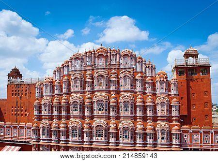 Famous Rajasthan landmark - Hawa Mahal palace (Palace of the Winds) Jaipur Rajasthan