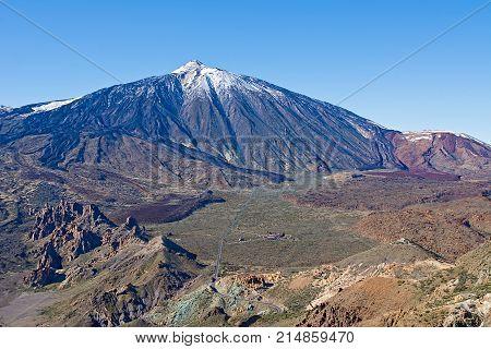 Top view of the volcano Teide Teide National Park Tenerife Canary Islands Spain