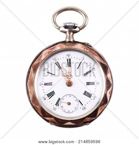 Old fob watch isolated on white background