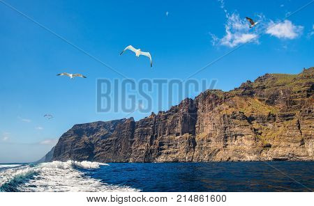 Amazing view of high cliffs from the boat. Location: Los Gigantes Tenerife Canary Islands. Artistic picture. Beauty world.