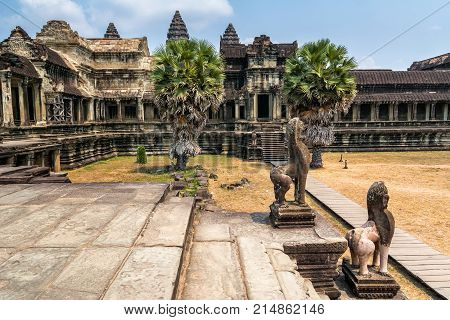 Amazing view of Angkor Wat is a temple complex in Cambodia and the largest religious monument in the world. Location: Siem Reap Cambodia. Artistic picture. Beauty world.