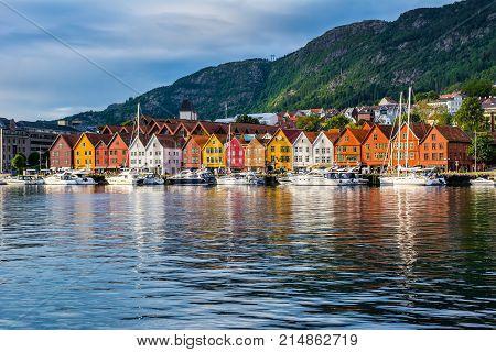 Bergen Norway. View of historical buildings in Bryggen- Hanseatic wharf in Bergen Norway. UNESCO World Heritage Site