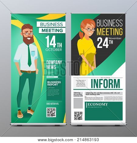Roll Up Banner Vector. Vertical Billboard Template. Businessman And Business Woman. Expo, Presentation, Festival. For Corporate Forum. Presentation Concept. Green, Yellow. Realistic Flat Illustration