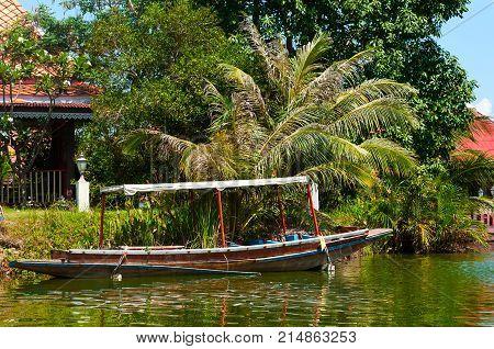 Boat in Hua Hin Floating Market in Hua Hin.Thailand. Entertaining floating market