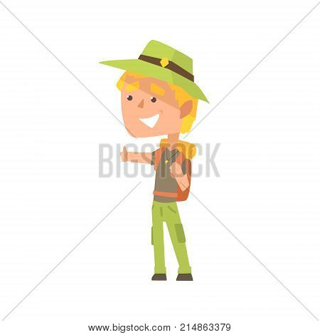 Cartoon male traveler hitchhiker with hat and backpack, man trying to stop a car on a highway by hand, travelling by autostop vector Illustration on a white background