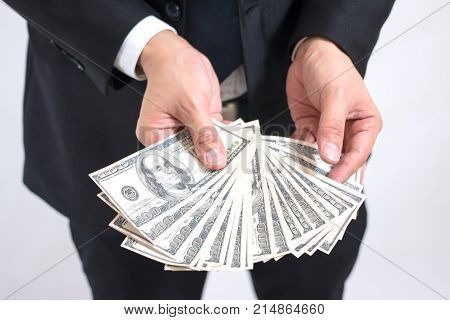 Businessman Are Counting Pile Money Hundread Dollas Banknotes, After Work, Bonus, Large Sum, Investm