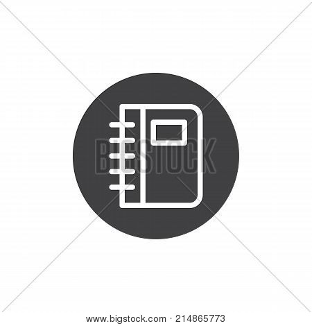Diary notebook icon vector, filled flat sign, solid pictogram isolated on white. Phonebook symbol, logo illustration.
