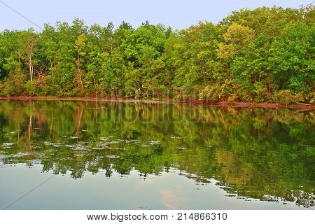 Beautiful forest scenery reflects off a lake at Kettle Moraine State Forest in Wisconsin