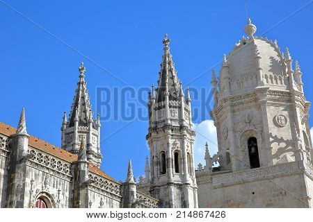 Close-up on the turrets and spires of Jeronimos Monastery in Belem neighborhood, Lisbon, Portugal
